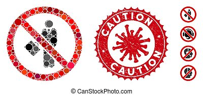 gratté, mosaïque, non, prudence, coronavirus, timbre, homme affaires, icône