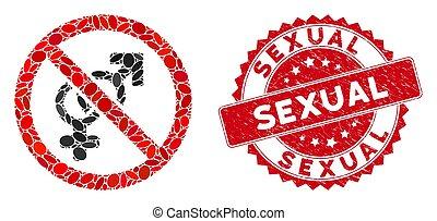 gratté, mosaïque, sexuel, icône, non, timbre