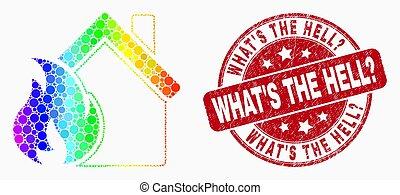 gratté, pointillé, foyer tir, est, hell?, spectre, timbre, vecteur, abîmer, icône