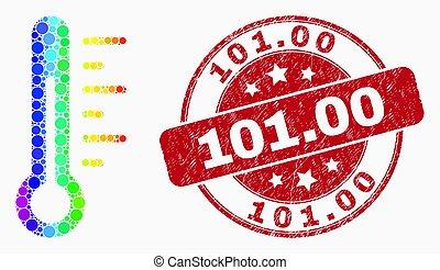 gratté, pointillé, timbre, 101.00, clair, vecteur, thermomètre, icône