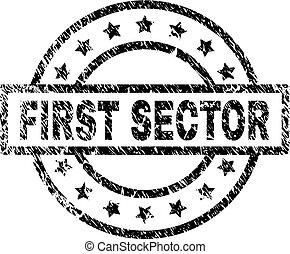 gratté, secteur, timbre, cachet, textured, premier