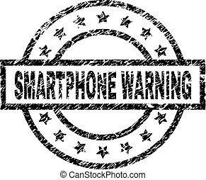 gratté, smartphone, timbre, textured, avertissement, cachet