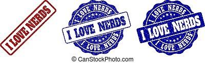 gratté, timbre, amour, nerds, cachets