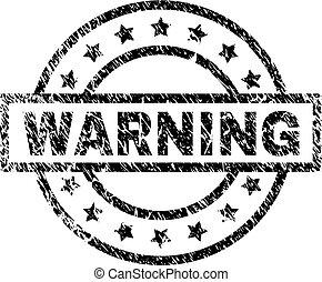 gratté, timbre, avertissement, textured, cachet