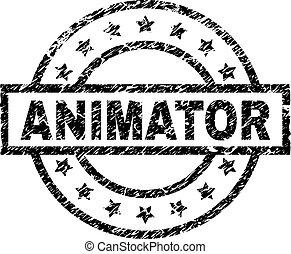 gratté, timbre, cachet, textured, animator