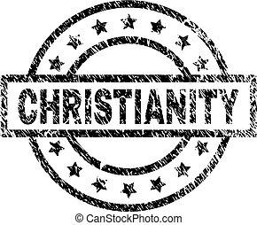 gratté, timbre, cachet, textured, christianisme
