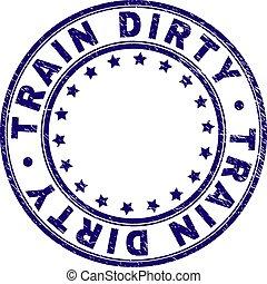 gratté, timbre, cachet, train, sale, textured, rond