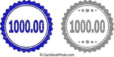 gratté, timbre, cachets, 1000.00, textured, ruban