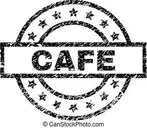 gratté, timbre, café, textured, cachet