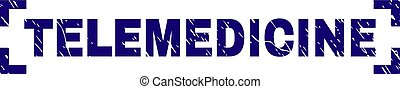 gratté, timbre, coins, intérieur, cachet, telemedicine, textured