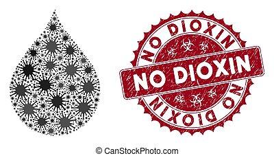 gratté, timbre, dioxin, goutte, coronavirus, mosaïque, non, icône