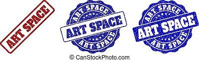 gratté, timbre, espace, art, cachets