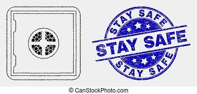 gratté, timbre, sûr, séjour, banque, vecteur, cachet, point, icône