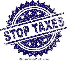 gratté, timbre, textured, arrêt, impôts, cachet