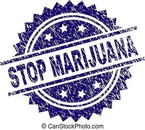 gratté, timbre, textured, arrêt, marijuana, cachet