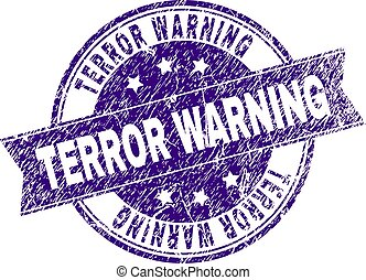 gratté, timbre, textured, avertissement, cachet, terreur