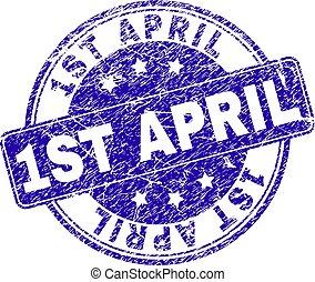 gratté, timbre, textured, avril, 1er, cachet