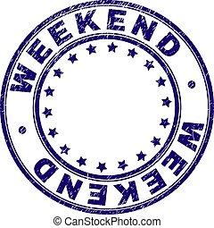 gratté, timbre, textured, cachet, week-end, rond