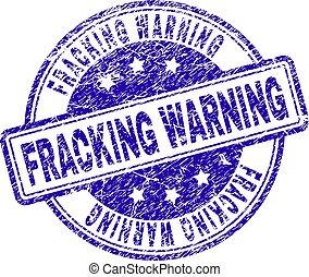 gratté, timbre, textured, fracking, avertissement, cachet