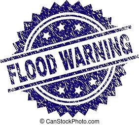 gratté, timbre, textured, inondation, avertissement, cachet