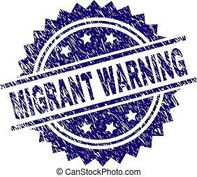 gratté, timbre, textured, migrant, avertissement, cachet