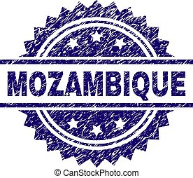 gratté, timbre, textured, mozambique, cachet