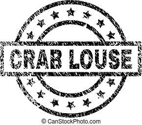 gratté, timbre, textured, pou, crabe, cachet