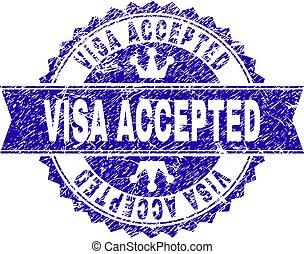 gratté, timbre, textured, visa, cachet, accepté, ruban