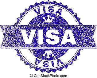 gratté, timbre, textured, visa, cachet, ruban