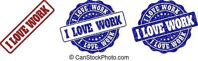 gratté, timbre, travail, amour, cachets