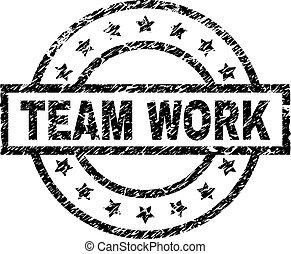 gratté, timbre, travail, cachet, équipe, textured