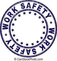 gratté, timbre, travail, label sécurité, rond, textured