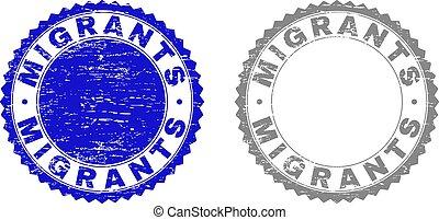 gratté, timbres, migrants, grunge