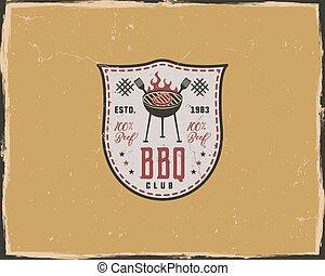 gratté, vieux, gabarit, letterpress, club, affiche, isolé, jaune, typographie, presse, étiquette, retro, fond, compenser, lettre, emblem., style., barbecue, design.