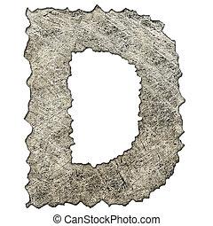 gratté, vieux, métal, d, lettre