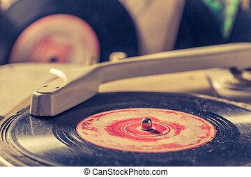 gratté, vieux, vinyls, joueur, classique, enregistrement