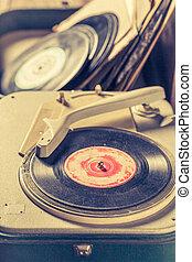 gratté, vieux, vinyls, joueur, vendange, enregistrement