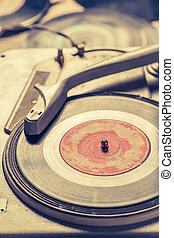 gratté, vieux, vinyls, tourne-disque, retro