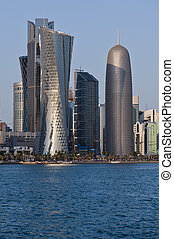 Doha - Grattacieli, lungo, corniche, Doha, qatar, mezzo, est