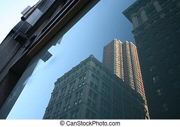 grattacieli, stati uniti, riflessioni, nuovo, manhattan, york