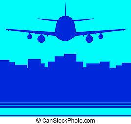 gratte-ciel, avion, fond