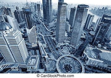 gratte-ciel, dans, shanghai, porcelaine