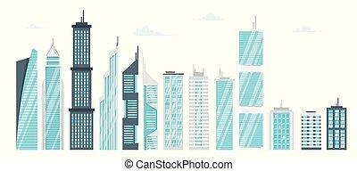 gratte-ciel, moderne, ville, ensemble