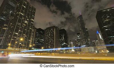 gratte-ciel, nuit, chicago