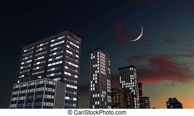 gratte-ciel, résumé, ciel, contre, lune, nuit