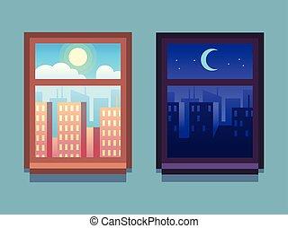 gratte-ciel, soleil, intérieur, windows., lune, étoiles, fenêtre., nuit, maison, dessin animé, jour