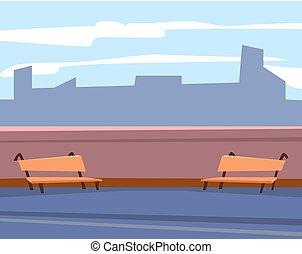 gratte-ciel, vecteur, banc, terrasse, urbain, vue