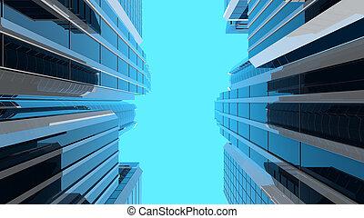 gratte-ciel, vertical, moderne, -, illustration, composition, 3d