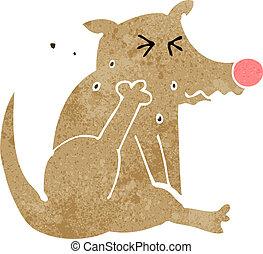grattement, dessin animé, chien