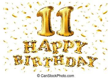 grattis 11 år Guld, år, inbjudan, din, baner, &, årsdag, fira, sväller, lycklig  grattis 11 år
